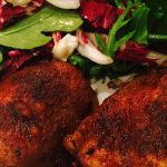 Chili Powder Chicken Thighs With Lemony Arugula Salad