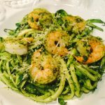 zoodles with shrimp and lemon pesto recipe by kristen coffield of the culinary cure