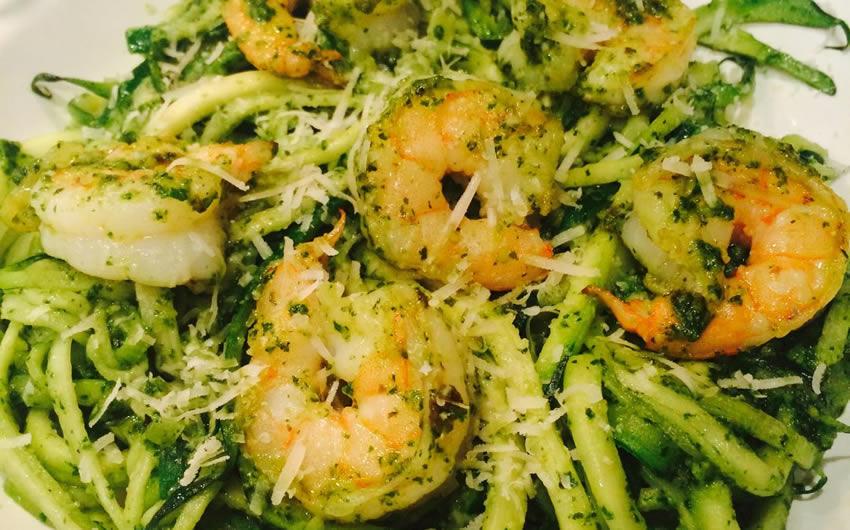 Zoodles & Shrimp with Lemon Pesto