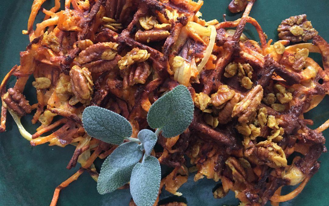 Sweet Potato Waffles with Pecan Crunch