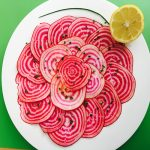 Chioggia Beet Carpaccio recipe by kristen coffield of the culinary cure