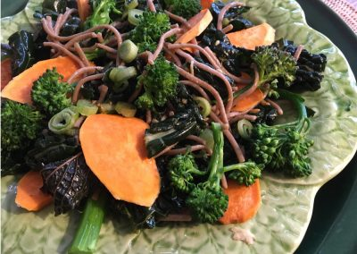 Sesame Noodles with Broccolini, Sweet Potato and Tuscan Kale