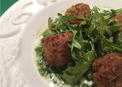 Sprouted Lentil Croquettes with Sauces of Arugula and Kefir