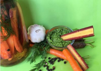 Lightly Pickled Carrots with Carrot Top Pesto