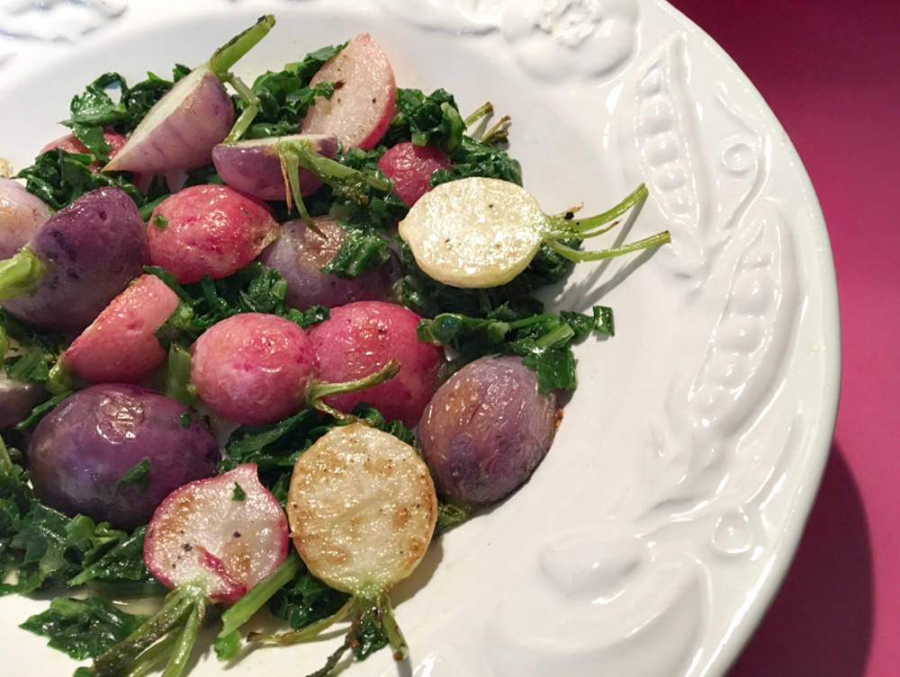 tasty vegetable side dish of roasted radishes