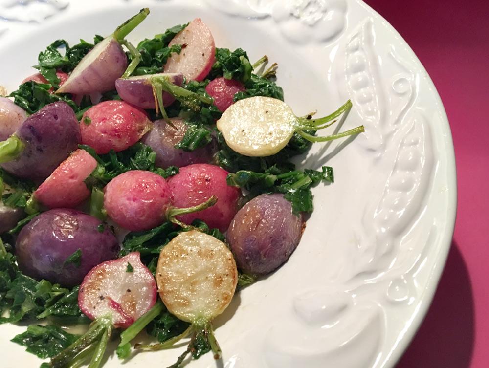 tasty vegetable side dish of roasted radishes