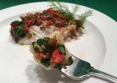 Wild Alaskan Cod with Fresh Herbs and Tomatoes in Foil
