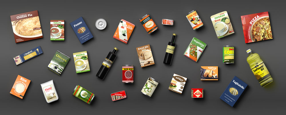 packaged foods on a dark background
