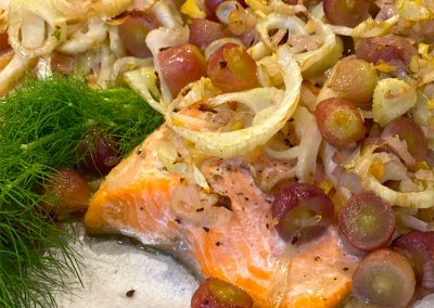 Baked Salmon with Fennel and Grapes Recipe